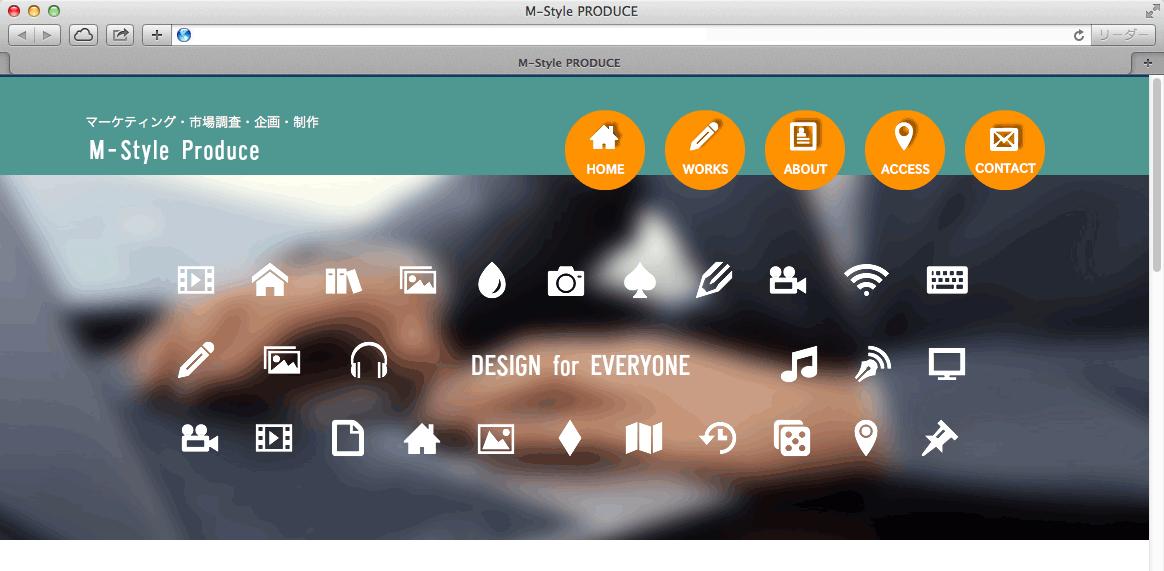 ピクトアイコンを使ったトップ画像のデザイン例